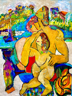Family Fun on the French Riviera 1998 44x34  Huge Original Painting - Giora Angres