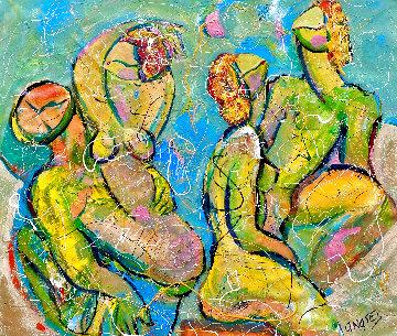 Ecstasy 2020 46x50 Super Huge Original Painting - Giora Angres