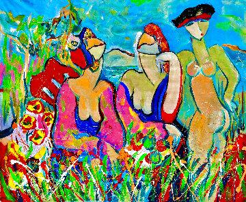 Menage a Trois 2016 46x52 Huge Original Painting - Giora Angres
