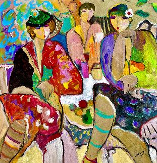 Paris Suite: Happy Hour 1994 42x40 Huge Original Painting - Giora Angres