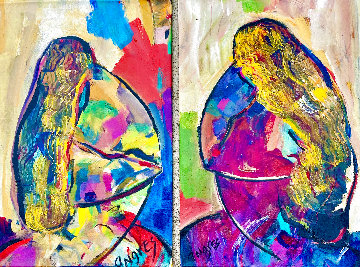 Face to Face (Diptych) 2014 28x18 Original Painting - Giora Angres