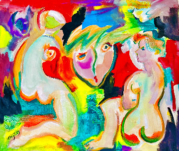 Voyeur 2021 48x52 Huge Original Painting - Giora Angres