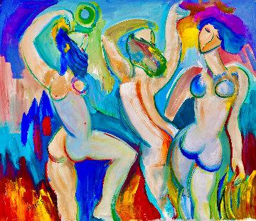 Tres Nu 2005 48x52 Huge Original Painting - Giora Angres