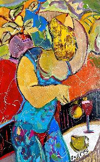 Coffee And Wine 2002 36x26 Original Painting - Giora Angres