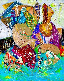 Poolside Together 2021 48x36 Huge Original Painting - Giora Angres