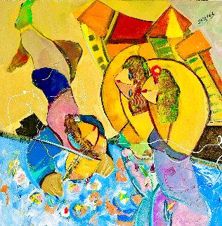 Lilypond Music 2002 34x34 Huge Original Painting - Giora Angres