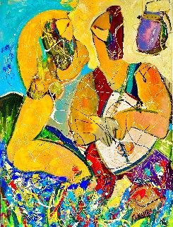 Beach Girl 2016 42x32 Huge  Original Painting - Giora Angres