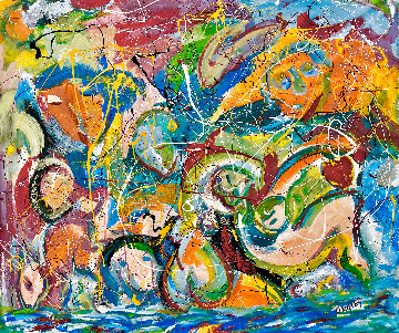 Sunny Day At the Beach 2021 48x52 Huge Original Painting - Giora Angres