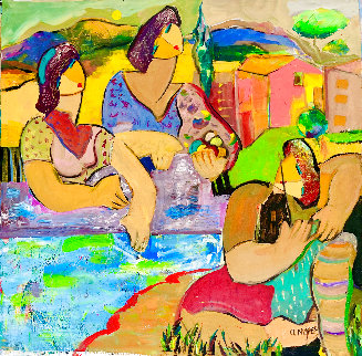 Girls Just Wanna Have Fun 2014 42x44 Huge  Original Painting - Giora Angres