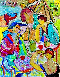 Gossip Girls 2002 52x46 Huge Original Painting - Giora Angres
