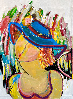 Bleu Hat 2002 46x34 Original Painting - Giora Angres