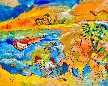 Maui -  Finding Paradise 2004 48x52 Huge Original Painting - Giora Angres