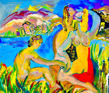 BFFs Friendly Fun 2021 48x54 Huge Original Painting - Giora Angres