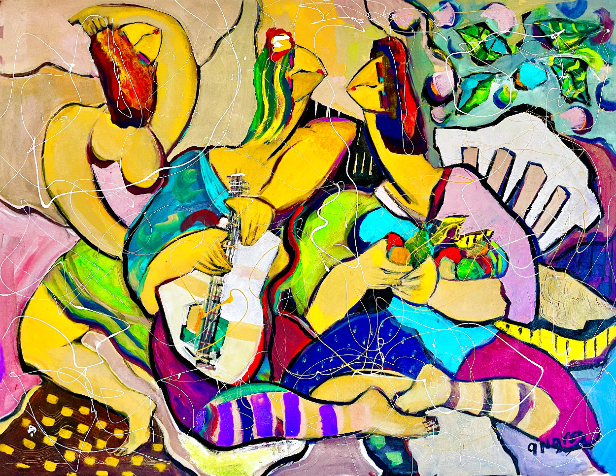 Playing Footsies 2014 48x58 Huge Original Painting by Giora Angres