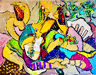 Playing Footsies 2014 48x58 Huge Original Painting by Giora Angres - 1