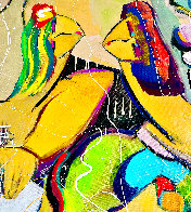 Playing Footsies 2014 48x58 Huge Original Painting by Giora Angres - 2