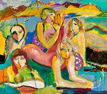 Beach Buddies 2017 48x52  Huge Original Painting - Giora Angres