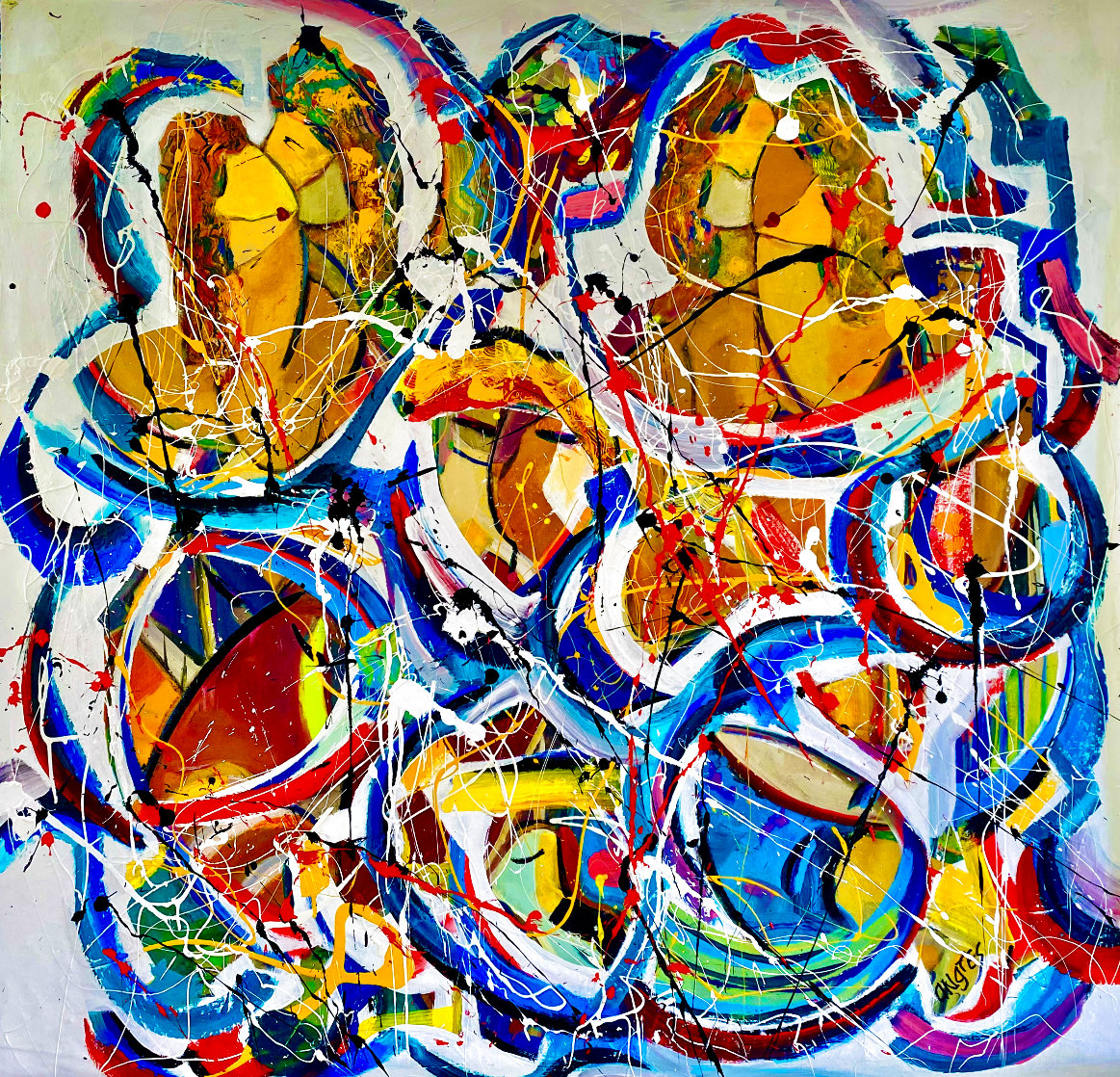 Love is in the Air 2020 48x48  Original Painting by Giora Angres