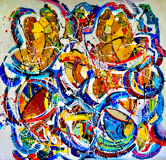 Love is in the Air 2020 48x48  Original Painting - Giora Angres