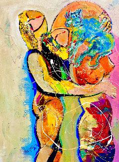 Love My Cat 2004 44x30 Original Painting - Giora Angres