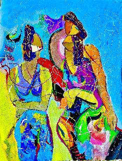 Nice to Meet You  2004 44x32 Huge Original Painting - Giora Angres
