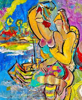Beach Hat 2004 48x36 Huge Original Painting - Giora Angres