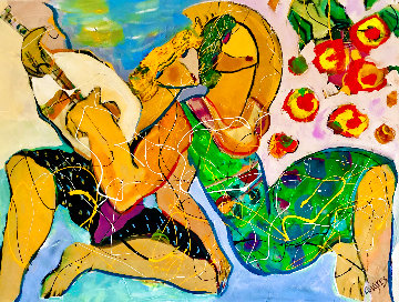 Bed of Roses 2004 34x44  Huge Original Painting - Giora Angres