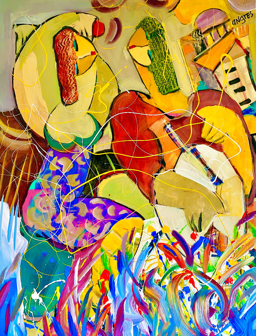 When in Rome 2004 48x36 Huge Original Painting by Giora Angres