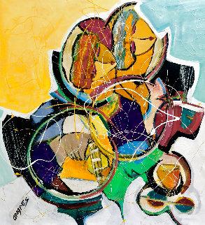 Hidden Melody 2016 36x34 Original Painting - Giora Angres