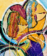 Hidden Melody 2016 36x34 Original Painting by Giora Angres - 2