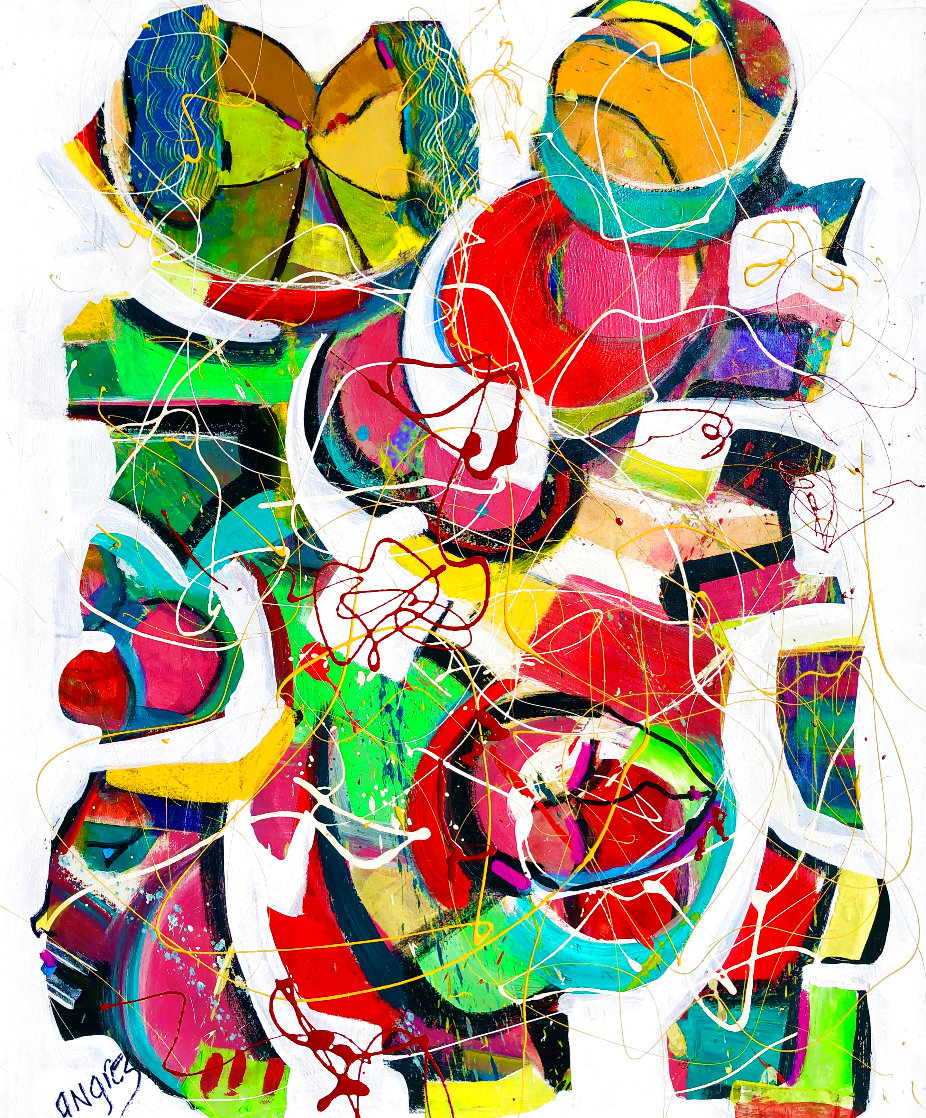 Linked 2018 36x28 Original Painting by Giora Angres