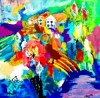 Happy House in the Morning 1994 30x28 Original Painting by Giora Angres - 0