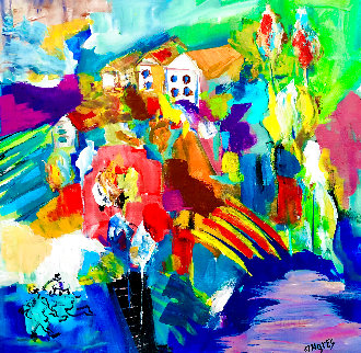 Happy House in the Morning 1994 30x28 Original Painting - Giora Angres