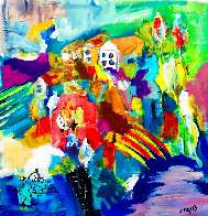 Happy House in the Morning 1994 30x28 Original Painting by Giora Angres - 1