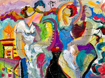 San Francisco Twilight 2021 48x54 Huge Original Painting - Giora Angres