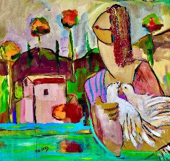 Joy of Peace 1994 28x28 Original Painting - Giora Angres