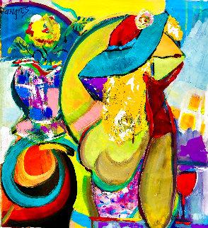 Elegant Marilyn 1994 28x25 Original Painting - Giora Angres