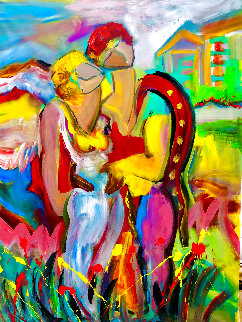 You're My Angel 1998 52x38 Huge Original Painting - Giora Angres