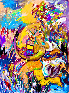 Paradise Found 2021 54x46 Huge Original Painting - Giora Angres