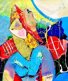 Golden Girl 2016 32x28 Original Painting - Giora Angres