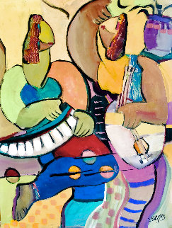 Girls Nite Out  2008 48x36 Huge Original Painting - Giora Angres