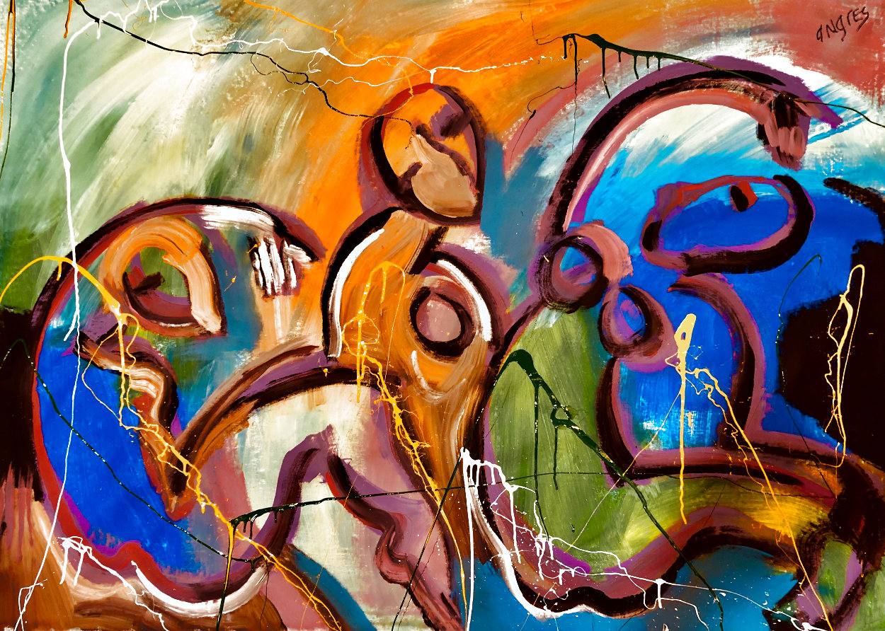 Companions Feeling Free 2021 48x60 Super Huge Original Painting by Giora Angres