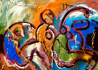 Companions Feeling Free 2021 48x60 Super Huge Original Painting by Giora Angres - 0