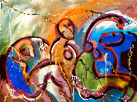 Companions Feeling Free 2021 48x60 Super Huge Original Painting by Giora Angres - 1