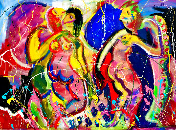 Love Garden 2020 48x60 Super Huge Original Painting - Giora Angres