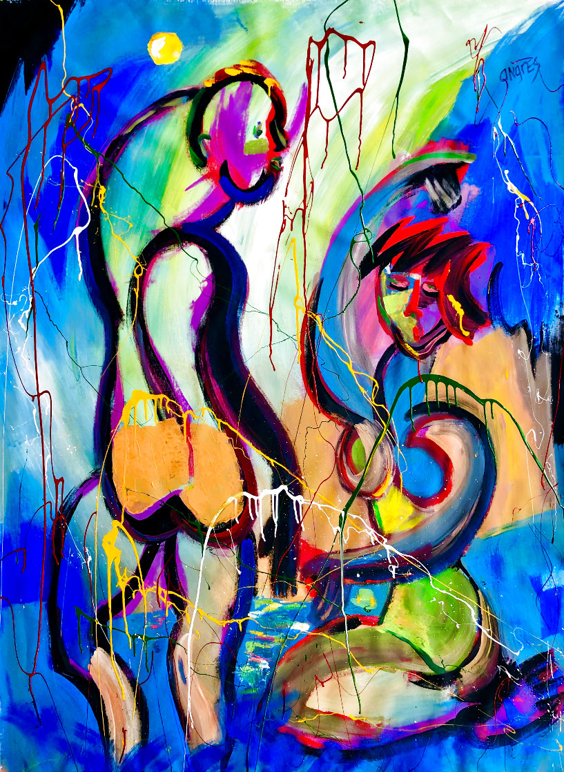 Blue Moon 2021 58x46 Super Huge Original Painting by Giora Angres