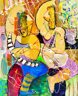 Musical Duet Original 2015 48x36 Huge Original Painting - Giora Angres