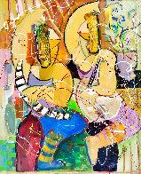 Musical Duet Original 2015 48x36 Huge Original Painting by Giora Angres - 1
