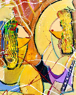Musical Duet Original 2015 48x36 Huge Original Painting by Giora Angres - 2