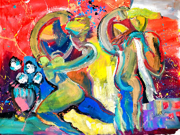 Love Forever 2021 48x60  Huge Original Painting - Giora Angres